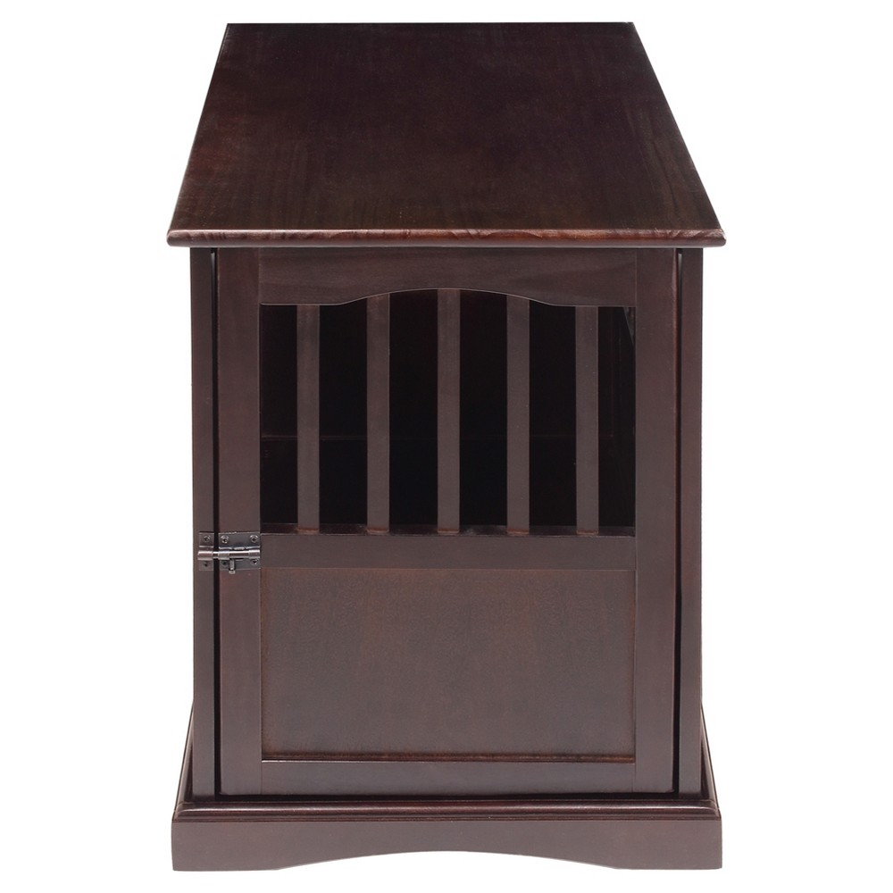 Dogs Pet Crate End Table Small - Espresso (Brown) - Flora Home