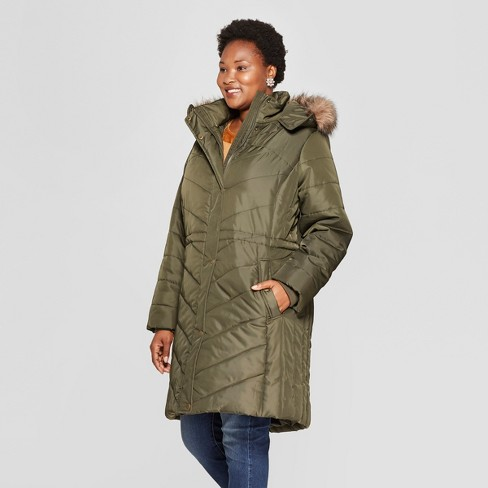 Women's Plus Size Quilted Puffer Jacket - Ava & Viv™ Olive 3X - image 1 of 2