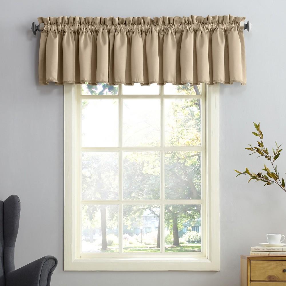 Seymour Energy Efficient Rod Pocket Curtain Valance Taupe (Brown) 54x18- Sun Zero