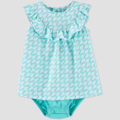 Baby Girls' One Piece Fish Romper - Just One You® made by carter's Blue 12M
