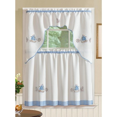 Ramallah Trading Grand Ocean Embroidered Kitchen Curtain - 60 x 36, White