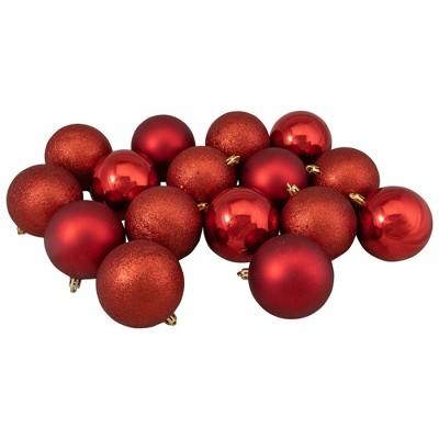 "Northlight 16ct Shatterproof 4-Finish Christmas Ball Ornament Set 3"" - Red"