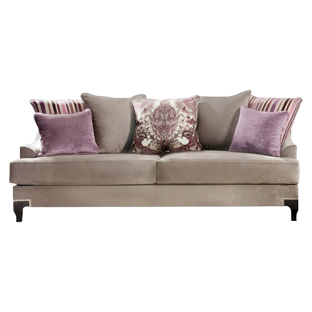 ioHomes Leah Formal Upholstered Sofa in Vintage Taupe, Brown/Gray