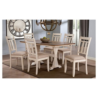 Roseberry Shabby Chic French Country Cottage Antique Oak Wood U0026 Distressed  White 7 Piece Dining Set   Baxton Studio : Target
