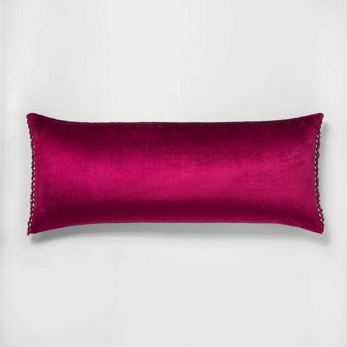 Crochet Trimmed Velvet Body Pillow Magenta - Opalhouse™ - image 1 of 4