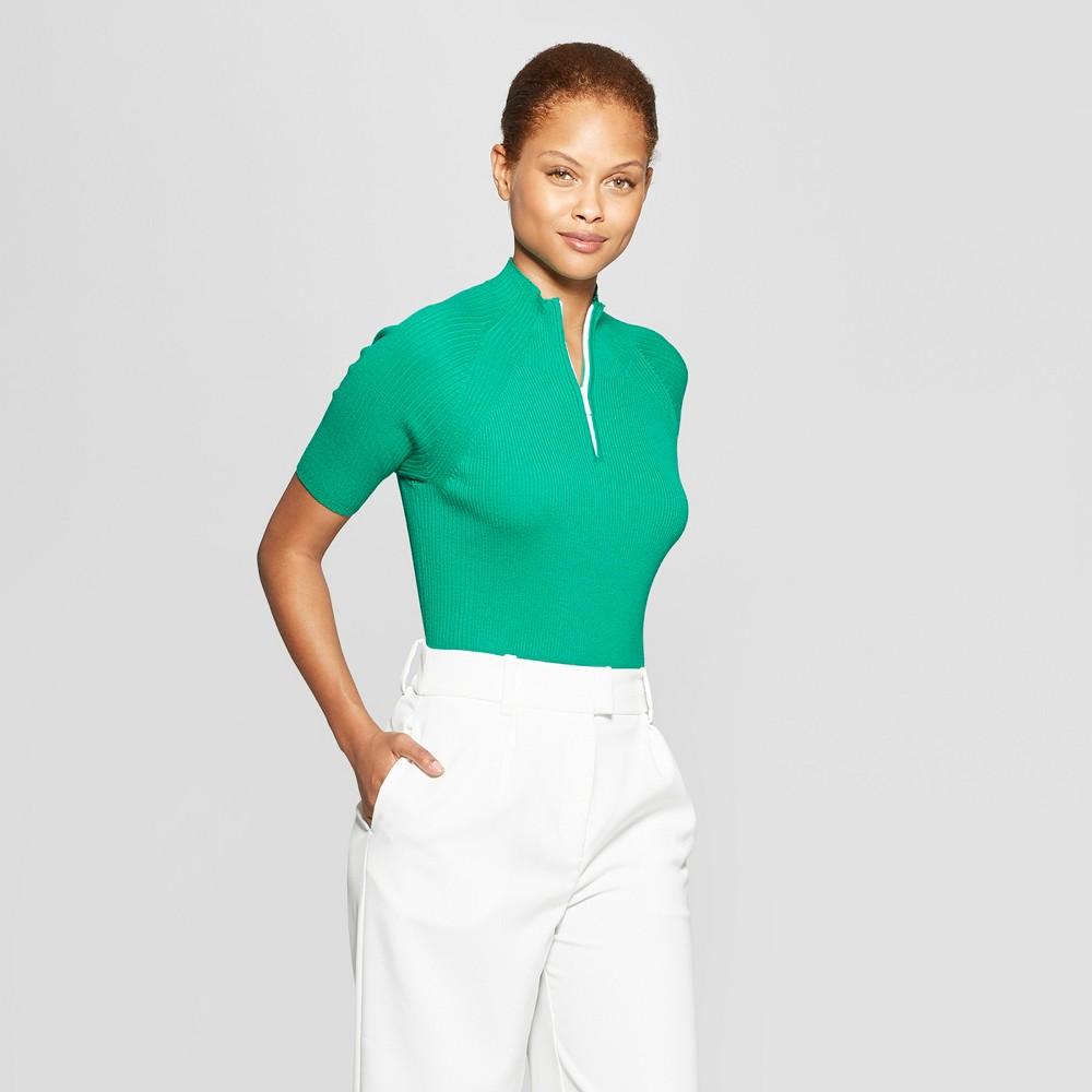 c09e15d7a9e Womens Short Sleeve Zip Up Pullover Sweater Prologue Green XS