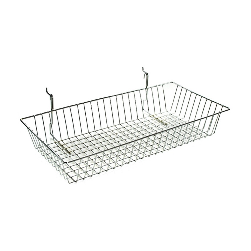 Image of Azar 5 Chrome Wire Basket 2ct, Clear
