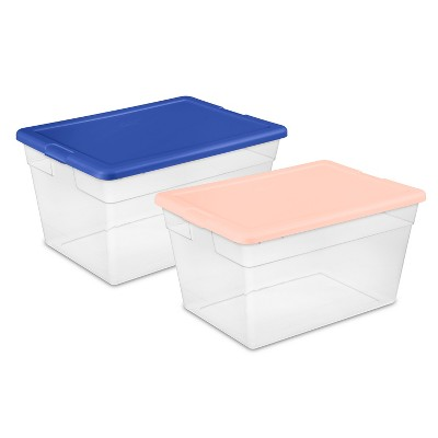 56qt Clear Storage Bin with Feather Peach Cement Assorted Lids - Room Essentials™