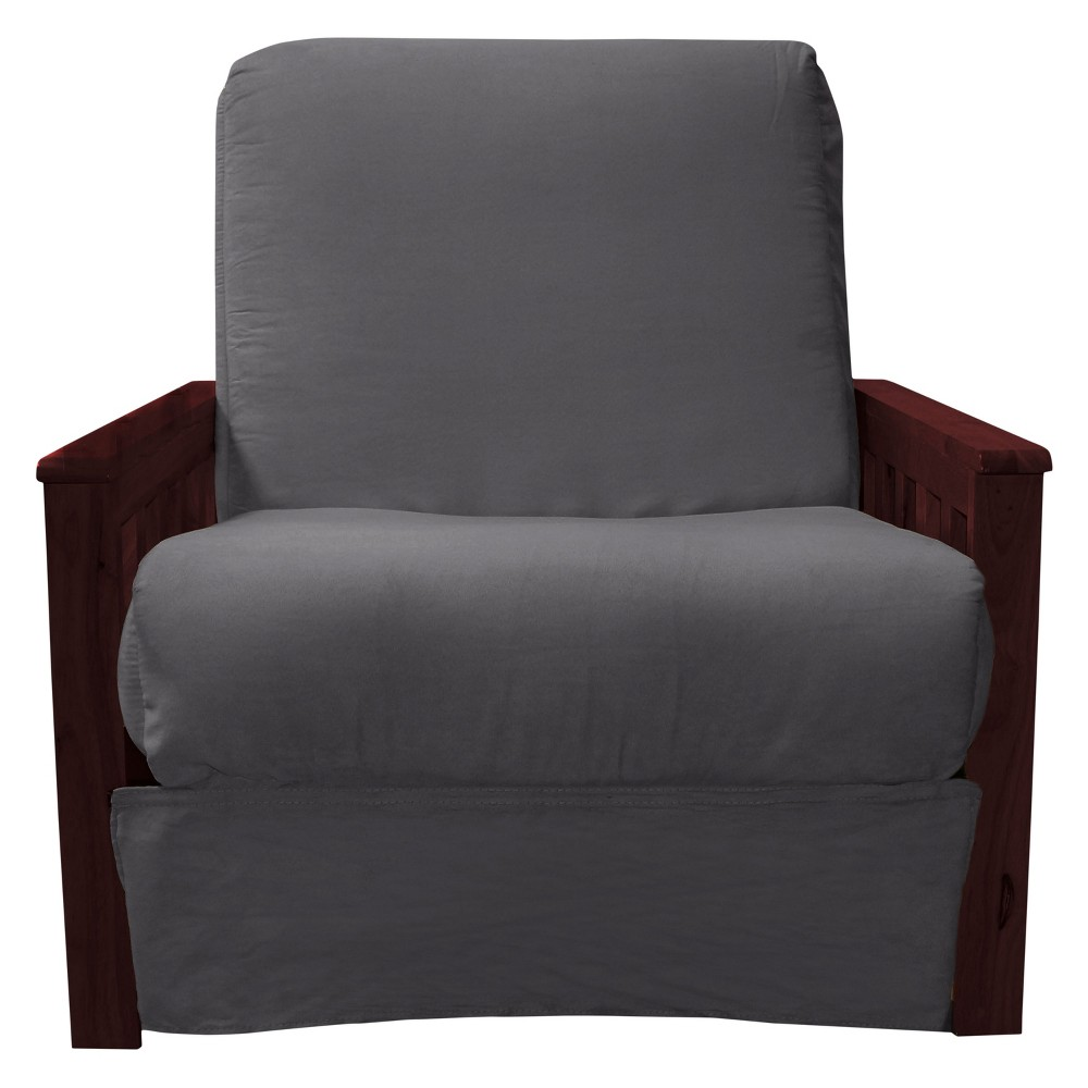 Mission Perfect Convertible Futon Sofa Sleeper - Mahogany Wood Finish - Epic Furnishings, Grey