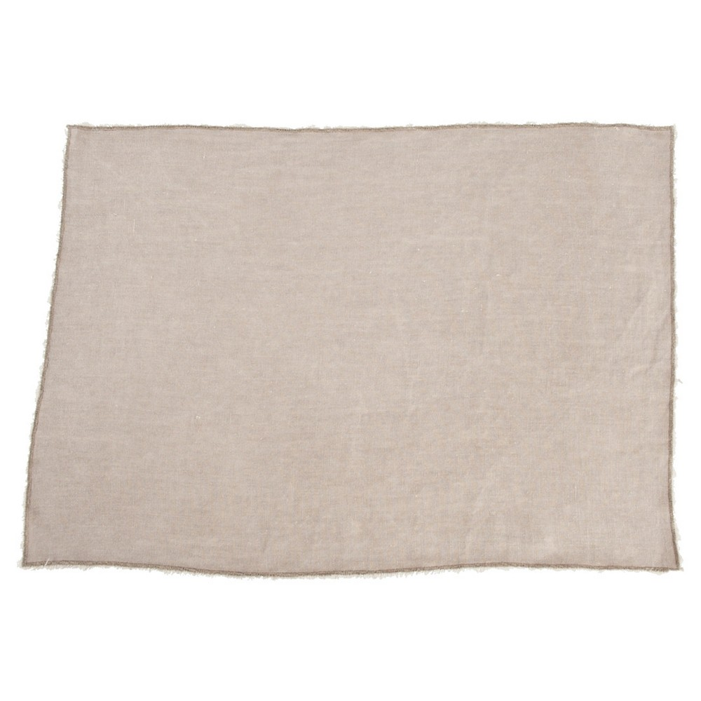 Fringed Design Stone Washed Placemats Natural Set Of 4