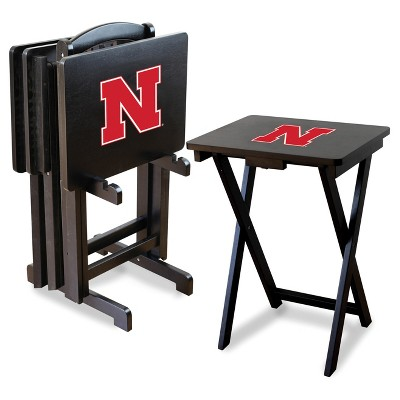 NCAA Imperial TV Trays with Stand - 4pk Nebraska Cornhuskers