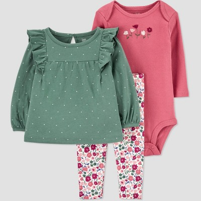 Baby Girls' Dot Top & Floral Bottom Set - Just One You® made by carter's Green/Pink 6M