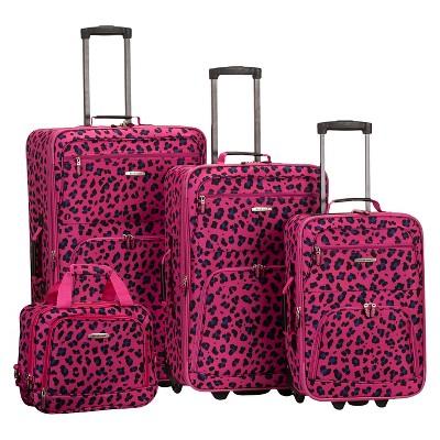 Rockland Jungle 4pc Luggage Set - Magenta Leopard