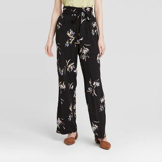 Women's Floral Print High-Rise Ankle Length Paperbag Pants - A New Day™ Black XS