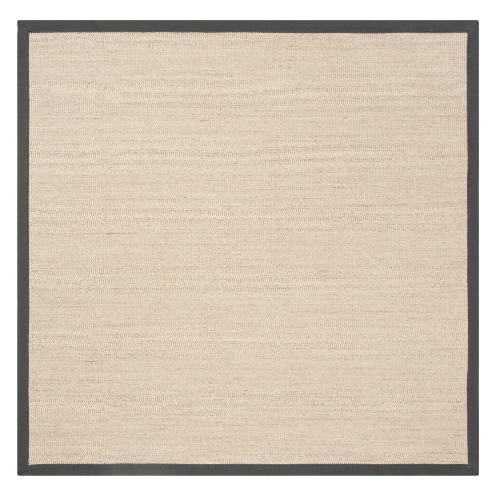 6'X6' Solid Loomed Square Area Rug Natural/Dark Gray - Safavieh
