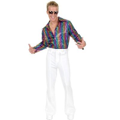 Charades Mens Plus Disco Multi Rainbow Shirt
