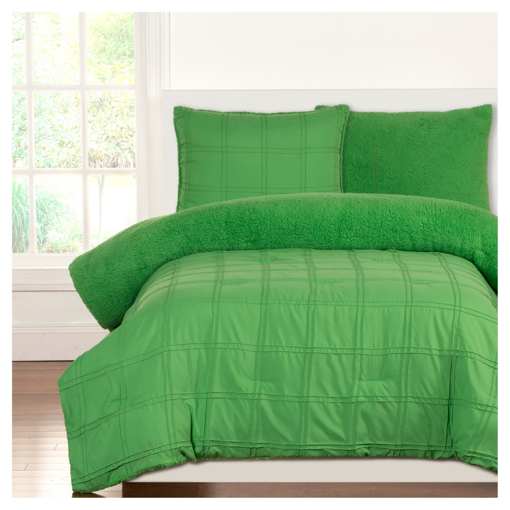 Crayola Playful Plush Green Pleated Comforter Set (Full/Queen) 3pc