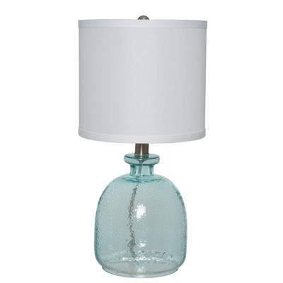 """18.25"""" Clear Glass Textured Table Lamp (Includes LED Light Bulb) Blue - Cresswell Lighting"""