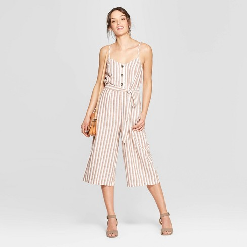 Women's Sleeveless Deep V-Neck Button Front Striped Jumpsuit - Universal Thread™ Brown/White - image 1 of 3