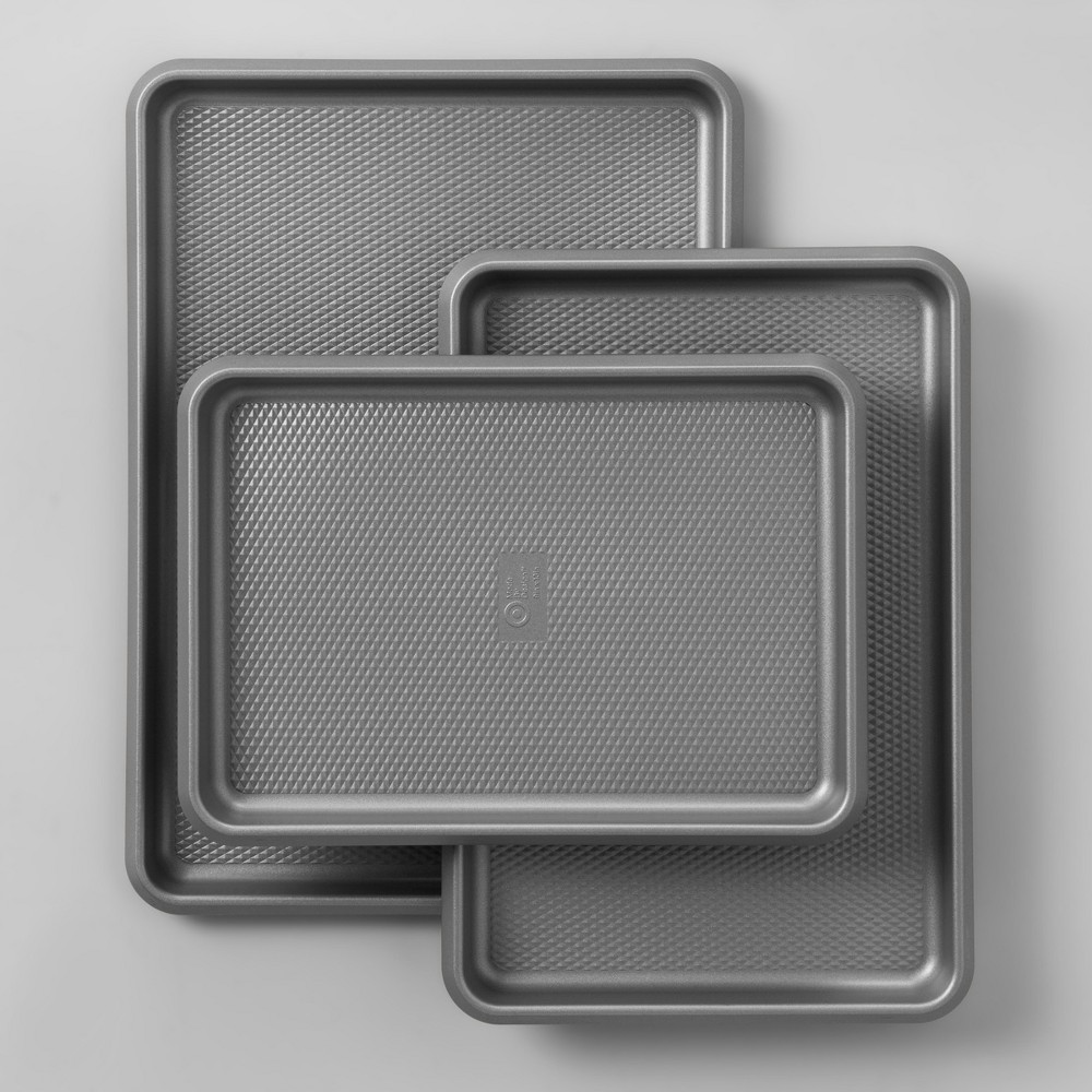 Image of 3pc Non-Stick Aluminized Steel Cookie Sheet Set - - Made By Design , Gray