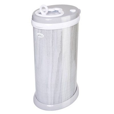 Ubbi Steel Diaper Pail - Woodgrain Gray