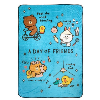 Twin Line Friends Day of Brown Blanket Blue