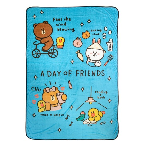 Twin Line Friends Day of Brown Blanket Blue - image 1 of 4