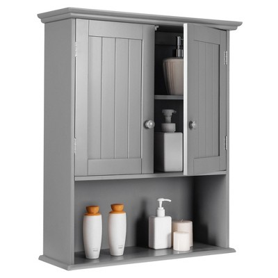 Costway Wall Mount Bathroom Cabinet Storage Organizer Medicine Cabinet Kitchen Laundry White\Grey