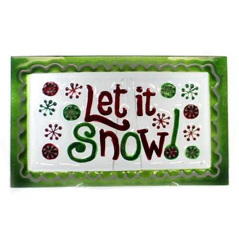 Tabletop Let It Snow Green Platter Christmas - image 1 of 3