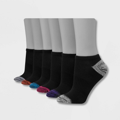 Hanes Performance Women's Extended Size Lightweight 6pk No Show Athletic Socks - Black/Gray 8-12