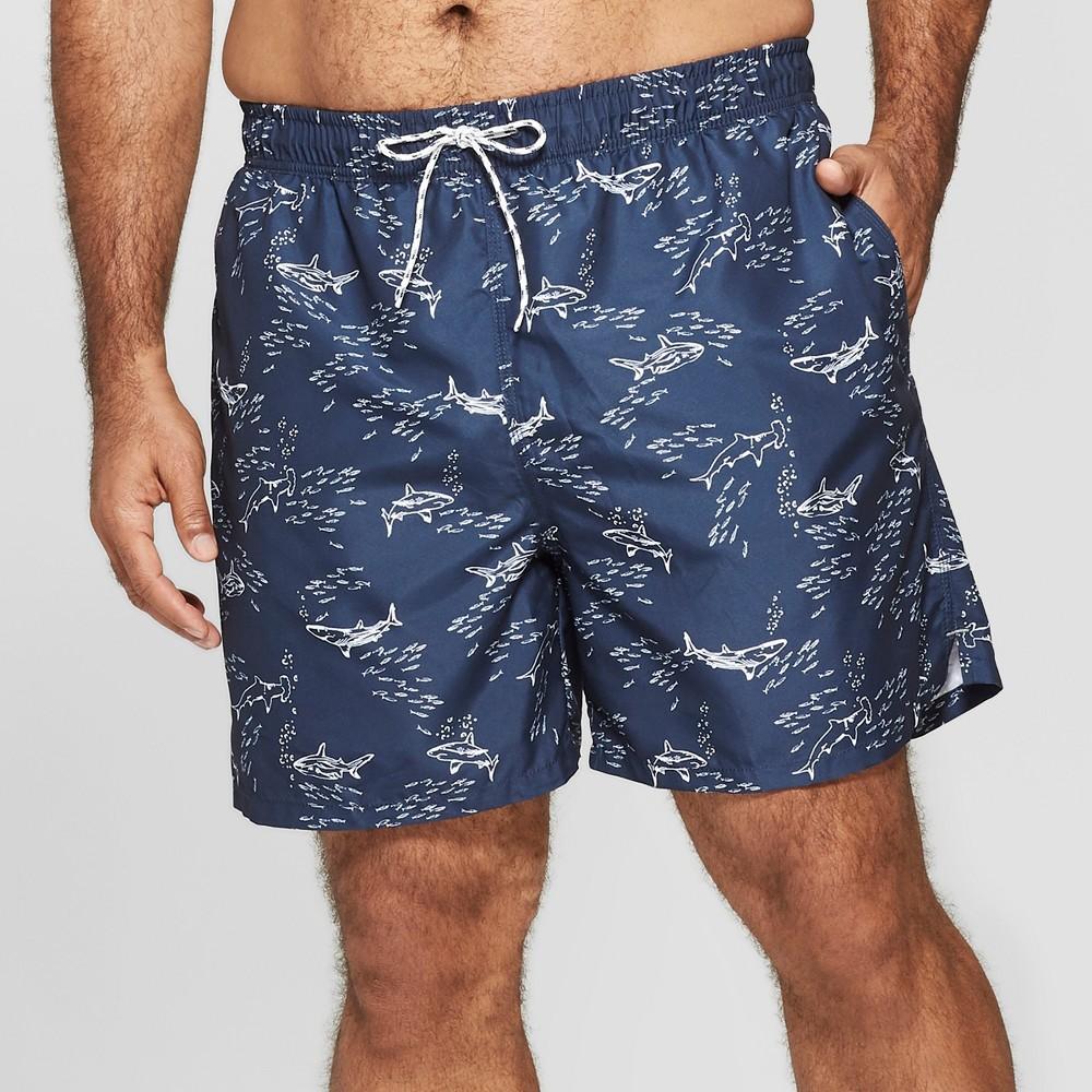 Men's Big & Tall 6 Shark Print Swim Trunks - Goodfellow & Co Black 2XB, Blue