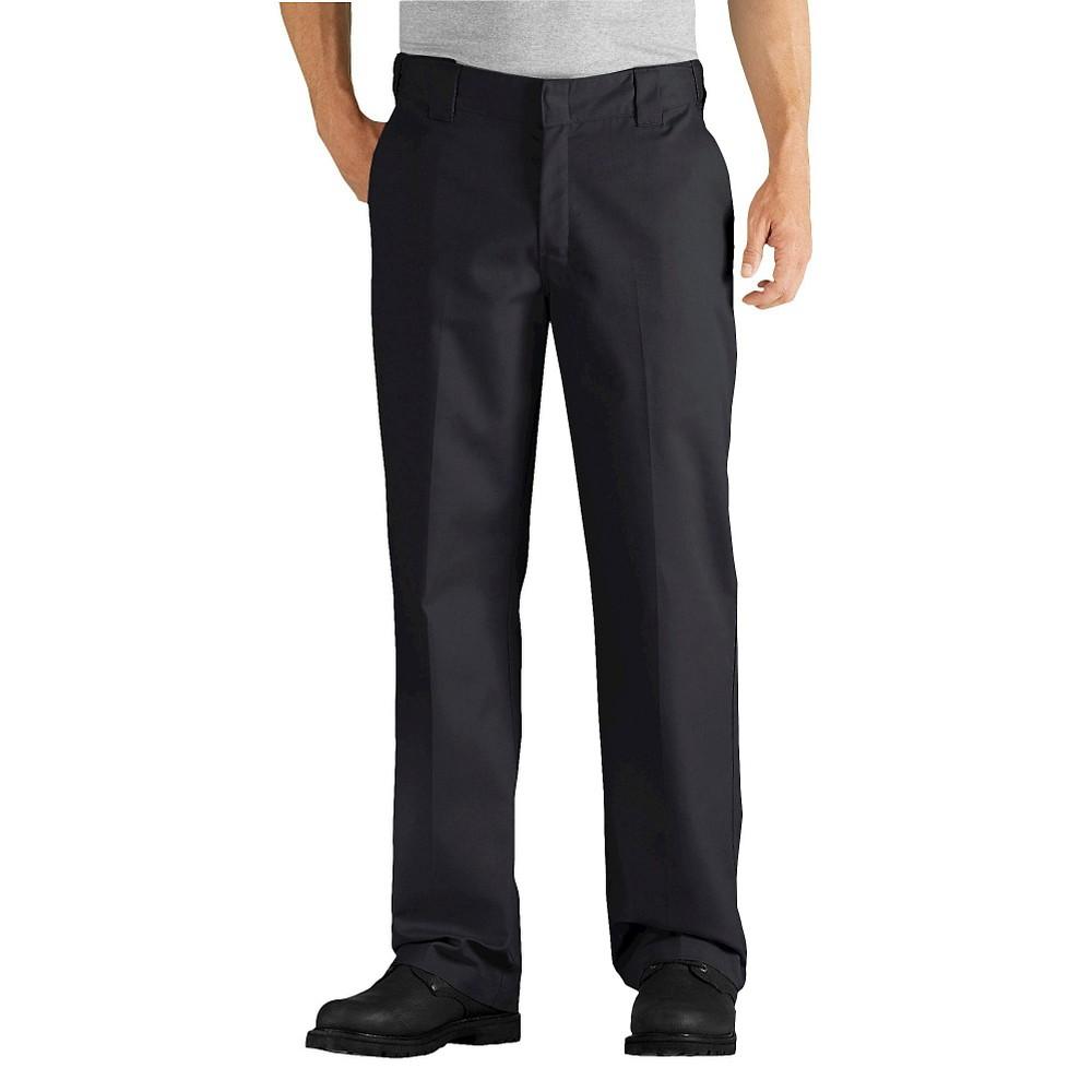 Dickies Men's Big & Tall Relaxed Straight Fit Comfort Waist Flex Twill Pants- Black 44x30