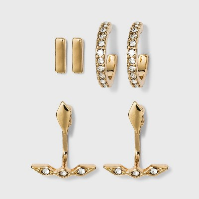 Small Huggie Hoop Bar Stud Earring Set 3pc - A New Day™ Gold