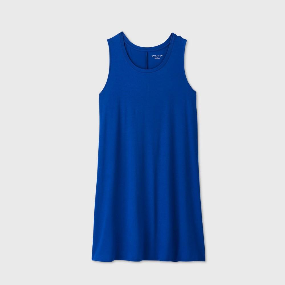 Women's Plus Size Sleeveless Swing Dress - Ava & Viv Blue 1X was $15.0 now $10.0 (33.0% off)