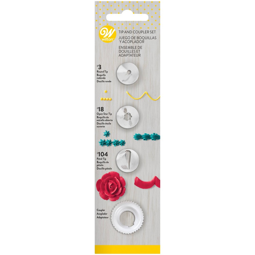 Image of Wilton 4pc Tip and Coupler Decorating Baking Set