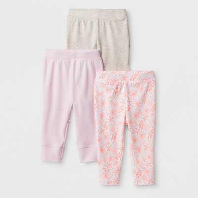 Baby Girls' 3pk Blooms & Sprouts Pants - Cloud Island™ Pink Newborn