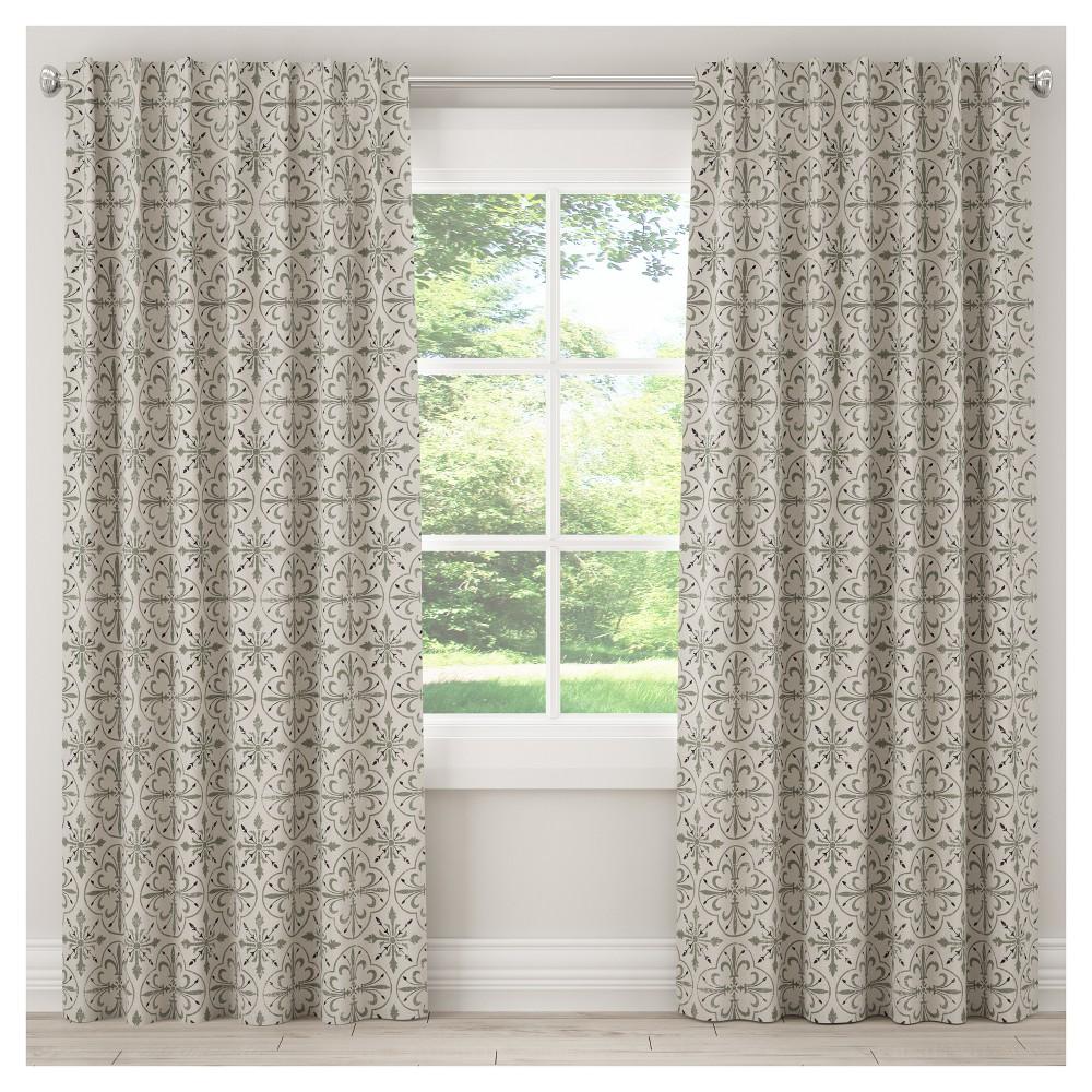 Unlined Paris Tile Curtain Panel Cream (Ivory) (50