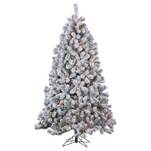 7ft Pre-Lit Artificial Christmas Tree Full Flocked Montana Pine ...