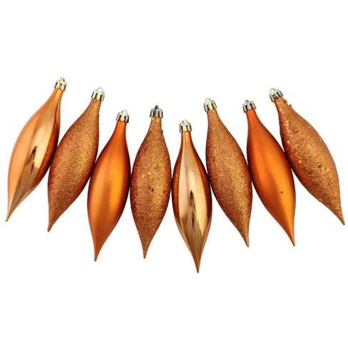 "Northlight 8ct Burnt Orange Shatterproof 4-Finish Christmas Finial Drop Ornaments 5.5"" - image 1 of 3"