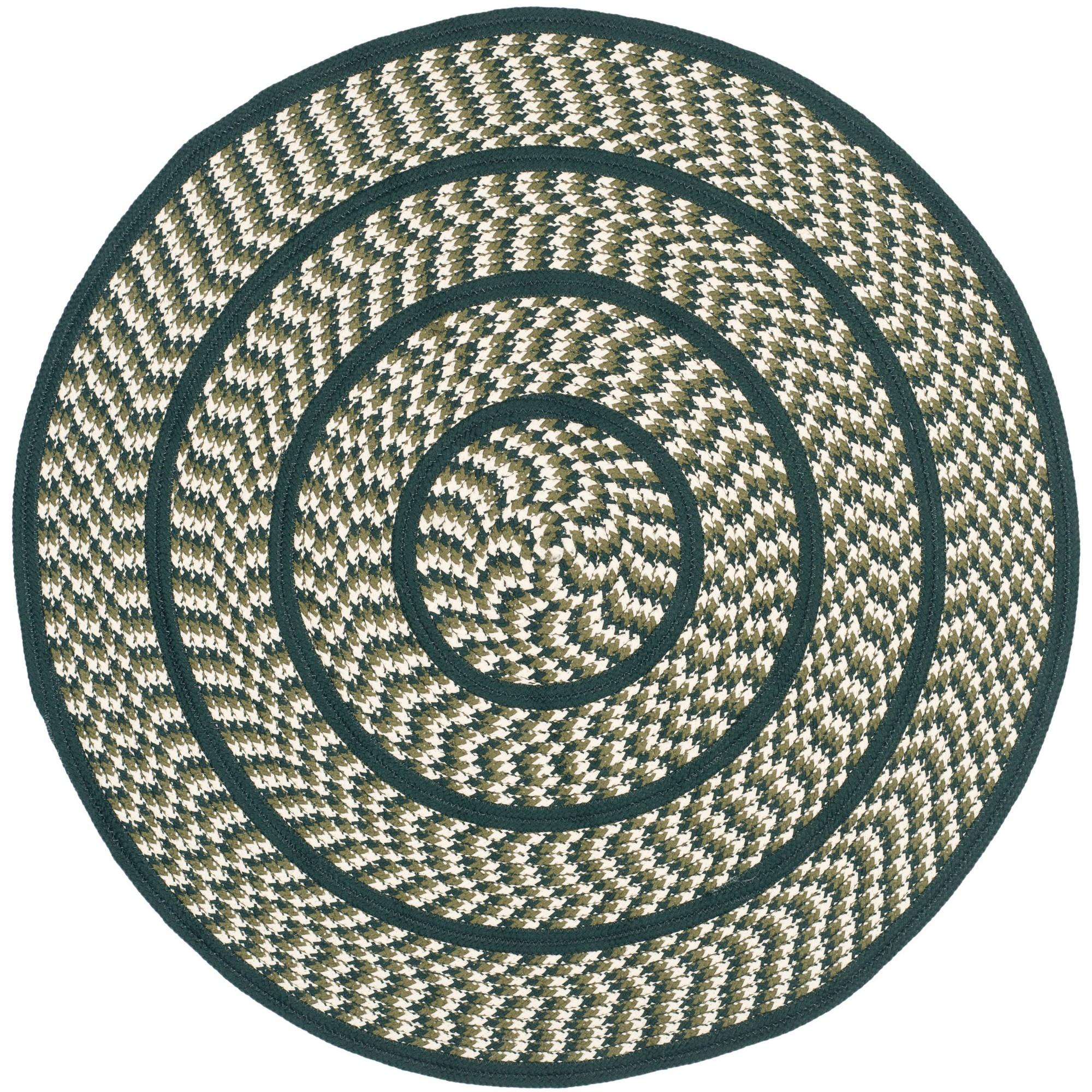 Ivory/Dark Green Solid Woven Round Accent Rug 4' - Safavieh, Ivoryndark Green