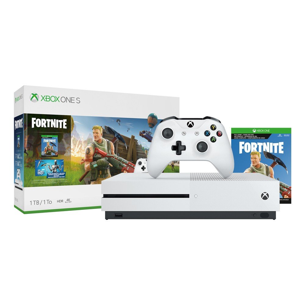 Xbox One S 1TB Fortnite Bundle, White