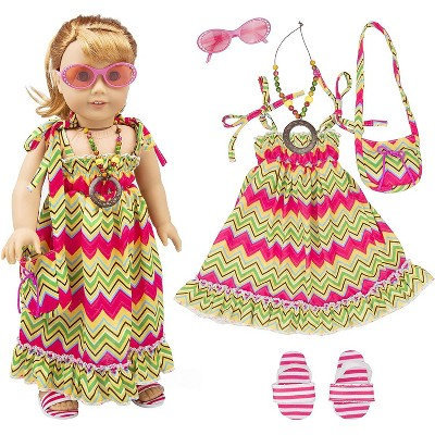 Dress Along Dolly Vacation Beach Maxi Dress Outfit for American Girl Doll