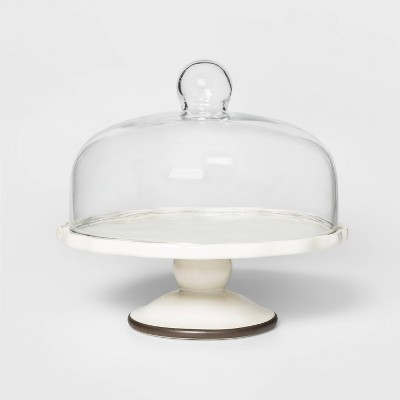 "11"" Stoneware Cake Stand with Lid White - Threshold™"