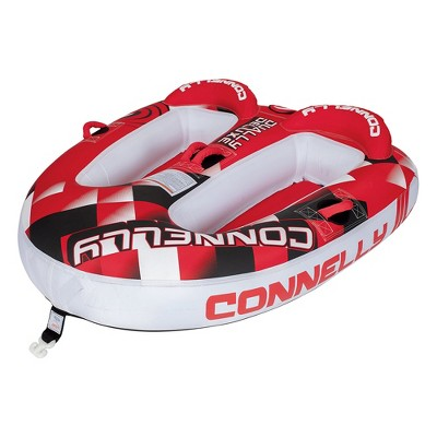 Connelly 67170005-CON Dually Deluxe Inflatable Towable Lake River Water Tube for 2 People, Red