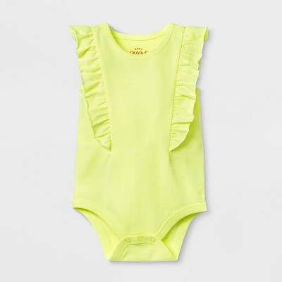 Baby Girls' Solid Tank Bodysuit - Cat & Jack™ Yellow 3-6M