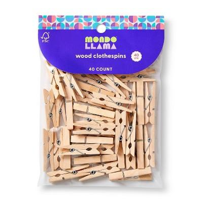 40ct Wood Clothespins Natural - Mondo Llama™