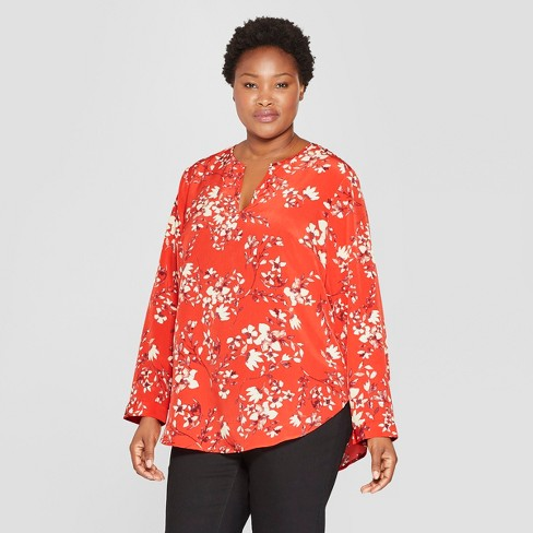 ed8bbba5075 Women s Plus Size Floral Print Long Sleeve Woven Popover - Ava   Viv™ Red
