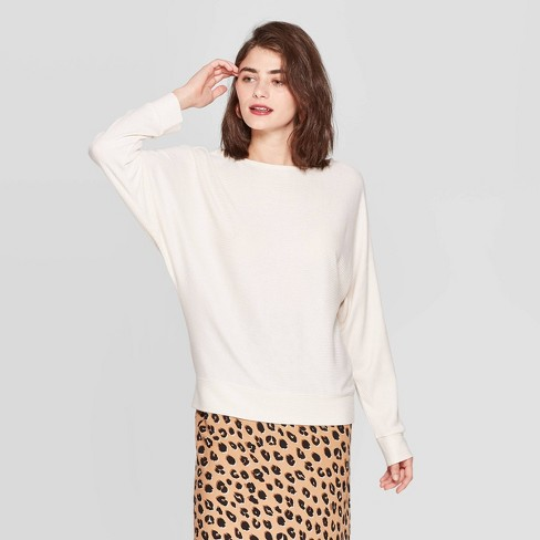 Women's Casual Fit Dolman Long Sleeve Boat Neck Rib Snit T-Shirt - A New Day™ - image 1 of 3