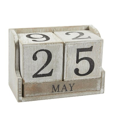 Block Calendar, Wooden Perpetual Desk Calendar, Rustic Style for Home and Office Decor, 5.3 x 3.7 x 2.6 inches