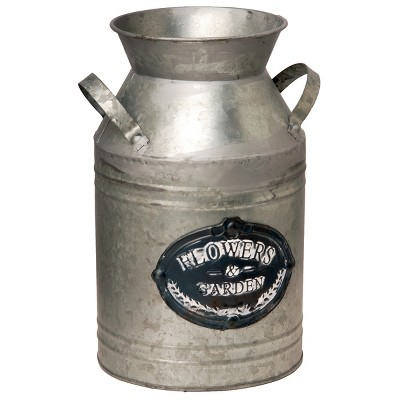 Garden Accents Artificial Antique Milk Can Silver 12  - National Tree Company®